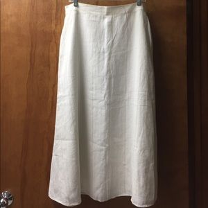 Talbots white linen long lined skirt