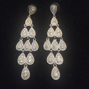 Express Silver Rhinestone Chandelier Earrings
