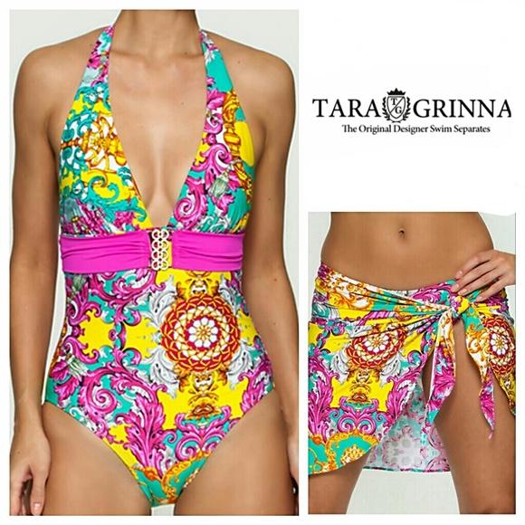 85967e70bc0dd Tara grinna corinth halter swimsuit sarong poshmark jpg 580x580 Tara grinna