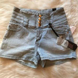 NWT High Waist Denim Shorts sz 5 Junior