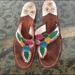FREE‼️Jack Rogers Navajo leather sandals flowers