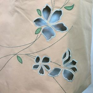 LOFT Skirts - LOFT Tan Skirt With Embroidered Floral Cut Out