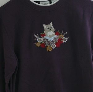Vintage cat crew neck sweatshirt