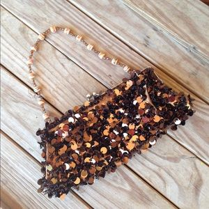 Handbags - Evening Clutch Coppery Brown Sequins Beaded Straps
