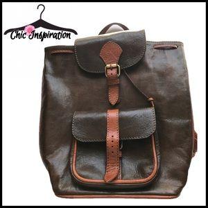 Handbags - Brown & Tan Leather Backpack