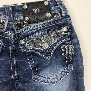 [Miss Me] Sequin Pocket Boot Cut Jeans Embellished