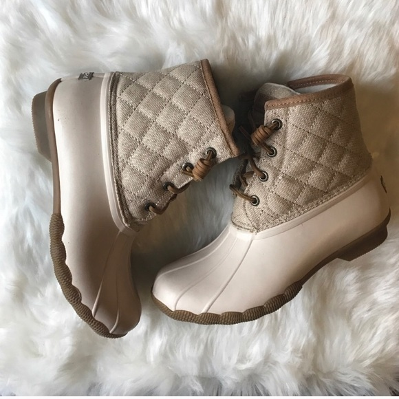 Sperry Ivory Quilted Duck Boots