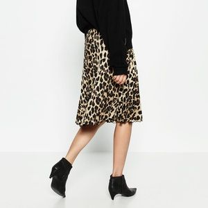 Zara Leopard Print Pleated Skirt!