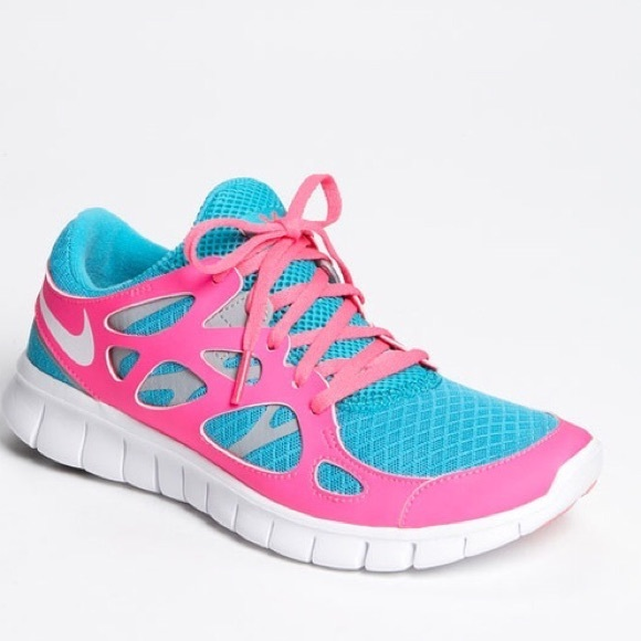 66 off nike shoes nike free run 2 blue hot pink sneaker. Black Bedroom Furniture Sets. Home Design Ideas