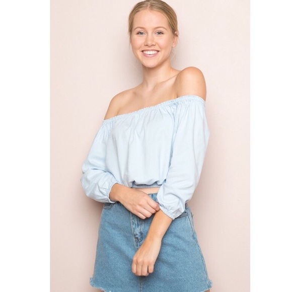 b3ee76b90d2a2 Brandy Melville light blue Maura off shoulder top