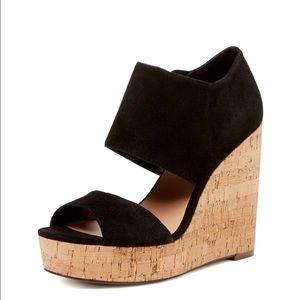 Ava & Aiden Shoes - Ava & Aiden Dakota Black Suede Sandals Cork Wedges