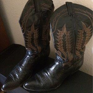 Tony Lama Shoes - Vintage women's lizard cowboy boots - Tony Lama