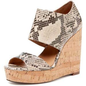 Ava & Aiden Shoes - Ava & Aiden Snakeskin Cork Dakota Platform Wedges