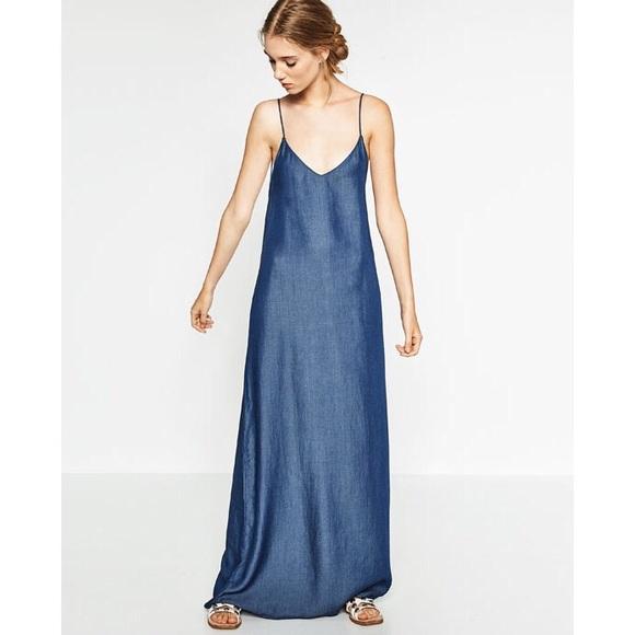 c6e3d9a9 Zara Dresses   Vestido Denim Largo Maxi   Poshmark