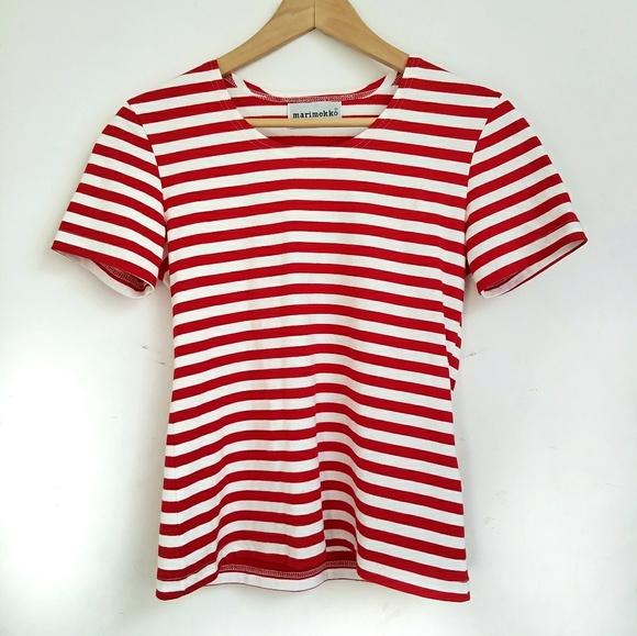 9e1d7ea6b Marimekko Tops | Red And White Striped Cotton Tshirt S | Poshmark