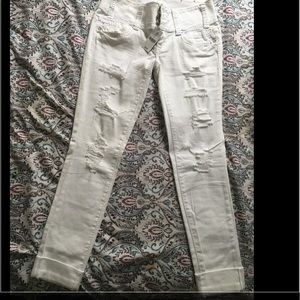 1822 Denim Pants - White low Waist Cut up Jean to knees