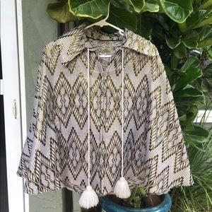 Jackets & Blazers - Vintage handmade zip-up geometric cape poncho