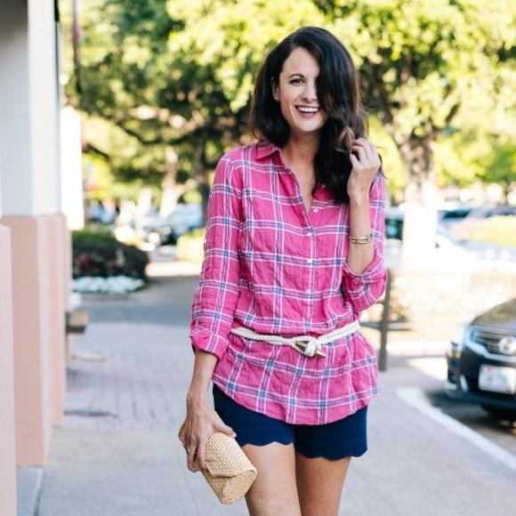 J. McLaughlin Tops - J. McLaughlin pink plaid cotton button up shirt