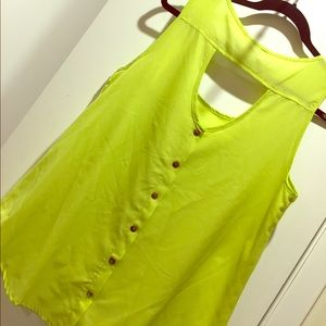 Tops - Flowy Lime Yellow/Green Top