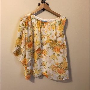 ANTONIO MELANI Tops - Cream yellow and orange sleeveless Blouse.