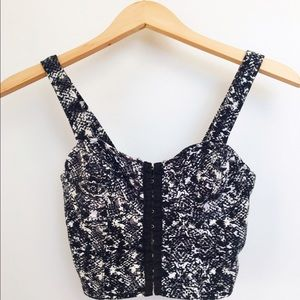 Black and white patterned crop top.