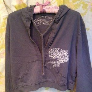 Vintage Embellished Cropped Gray Hoodie