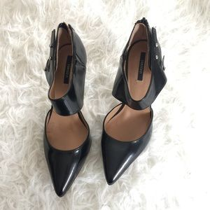 Shoes - NWT F21 Black Patent Faux Leather Closed Toe Pumps