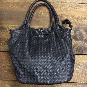 Black woven non-leather handbag