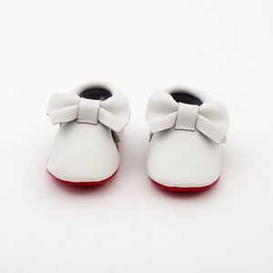 MAC&LOU Other - MAC&LOU BOW BABY LEATHER MOCCASINS WHITE/RED