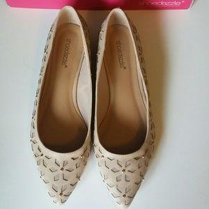 Shoedazzle Shoes - Shoedazzle Nude Gold Studd Flats