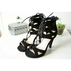 Top Moda | Faux Suede Lace-Up Heeled Sandals