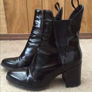 Zara Black Patent Leather Ankle Boots