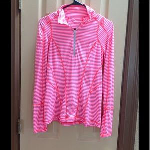 Zella choral long sleeve 1/4 zip top striped/ NWOT