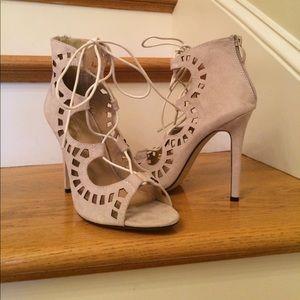 Shoes - Beige Laser Cut Lace Up Suede Heels