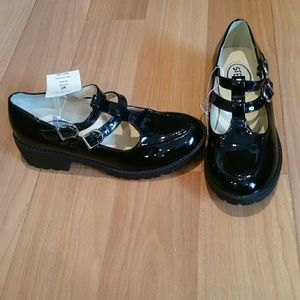 Stevies Other - Stevies Shiny Black Double Buckle Mary Janes