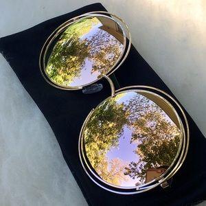 2/$14 Rose Gold Pink Tint Mirror Round Sunglasses