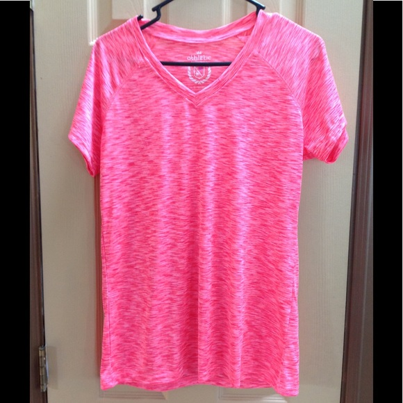 55 off athletic tops athletic large hot pink and white for Hot pink running shirt