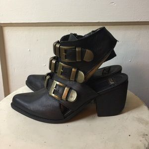 NYLA Leather Sling Back Western Ankle Buckle Boots