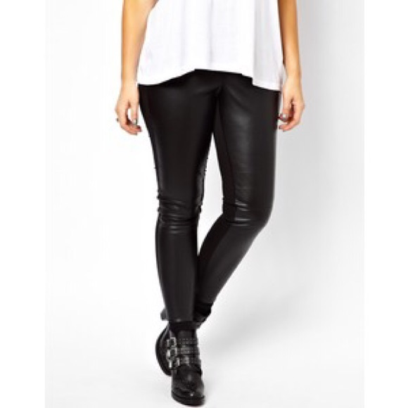 f408173a52b1ef ASOS Curve Pants - ASOS curve leather look trouser with panels black