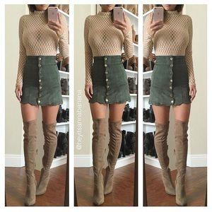 Dresses & Skirts - Velvet button up skirt