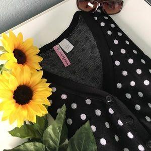 Sweaters - Black and White Polka Dot Cardigan