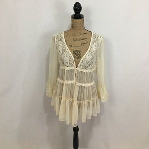 Areve Tops - A'reve boho cream lace sheer top/coverup