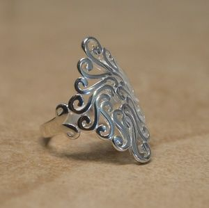 Jewelry - New Sterling Silver Intricate Filigree Wide Ring