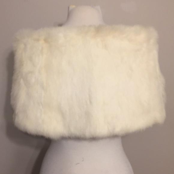 Vintage Accessories - Vintage authentic White Rabbit Fur Stole wrap
