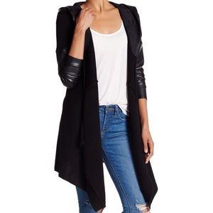 Blank NYC Sweaters - Blank NYC Hooded Leather Sweater Cardigan Swing