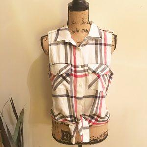 Stoosh Tops - NWT Macy's plaid button down sleeveless top