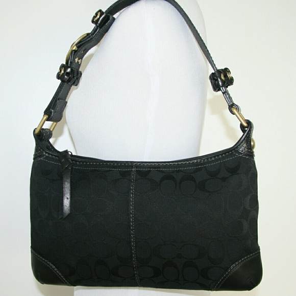 6689067c Coach Black Jacquard Bag Gold Hardware