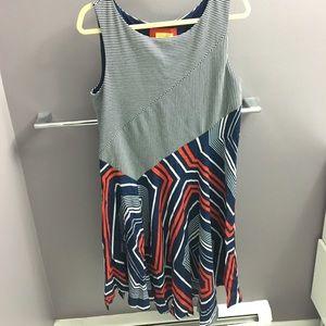 Anthropologie red/white/ navy dress