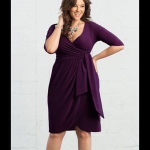Top Fashion Dresses & Skirts - Plus size wrap dress in deep Purple