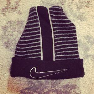 Black & white striped Nike knit hat
